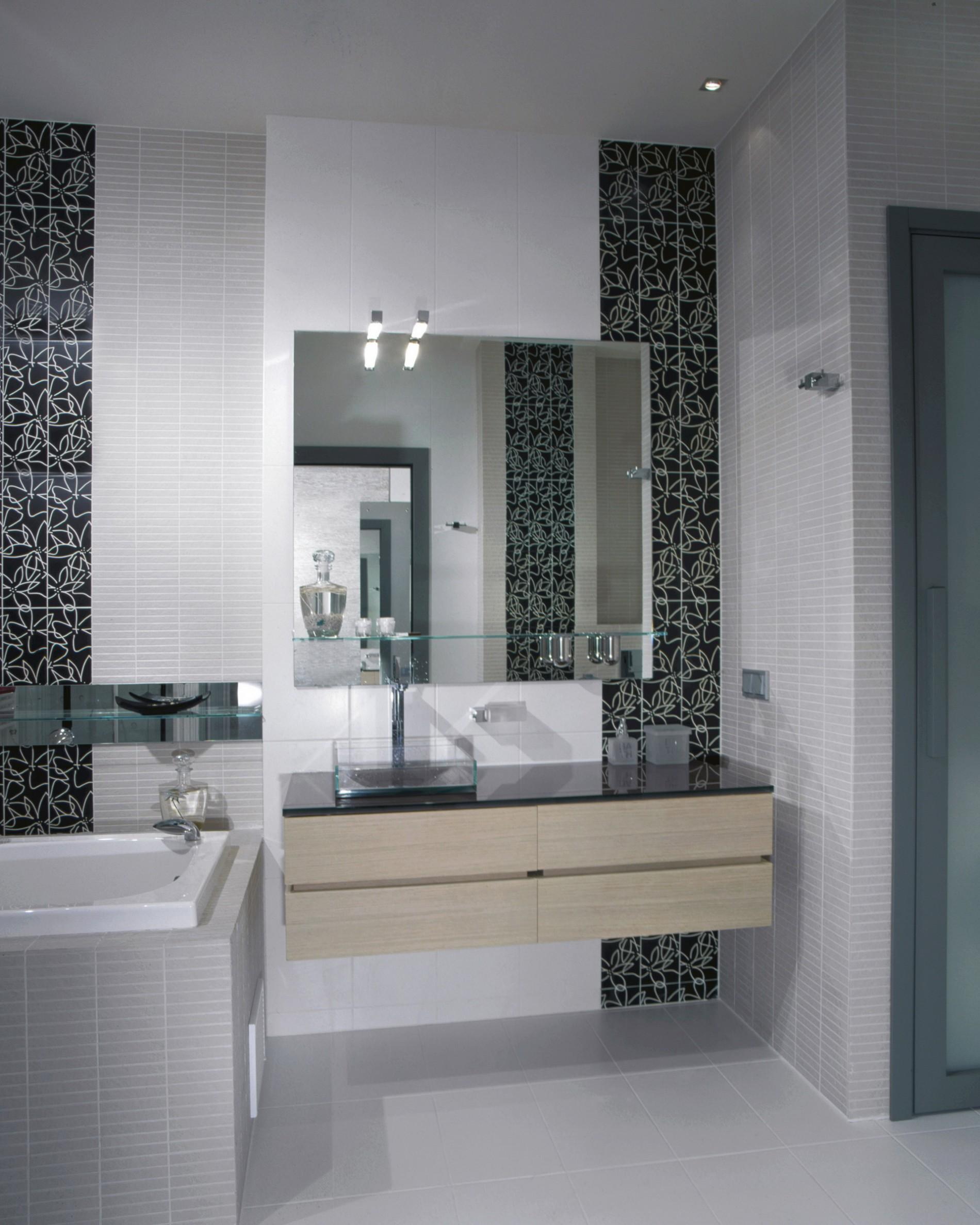 Раковина с зеркалом в ванной минимализм