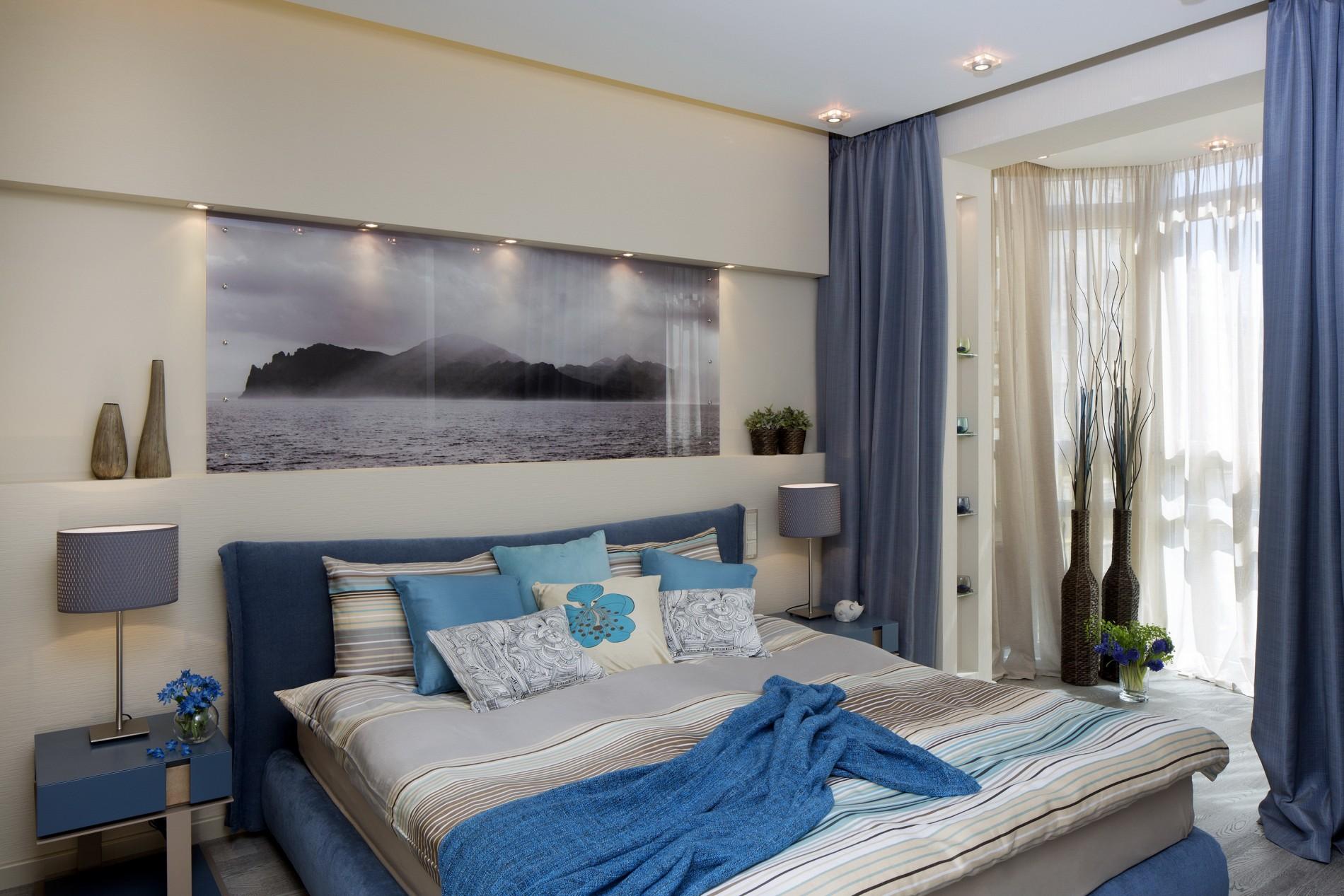Стильный дизайн спальни в стиле фьюжн