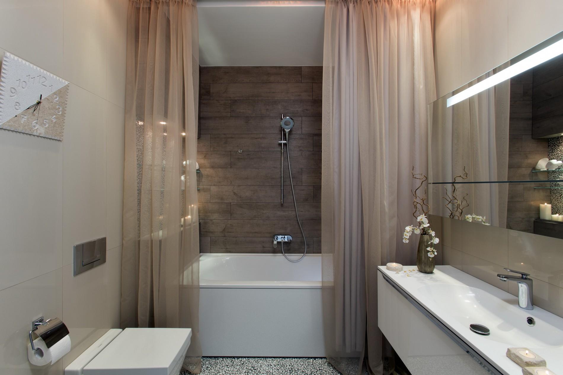 Реальный дизайн ванной в стиле фьюжн