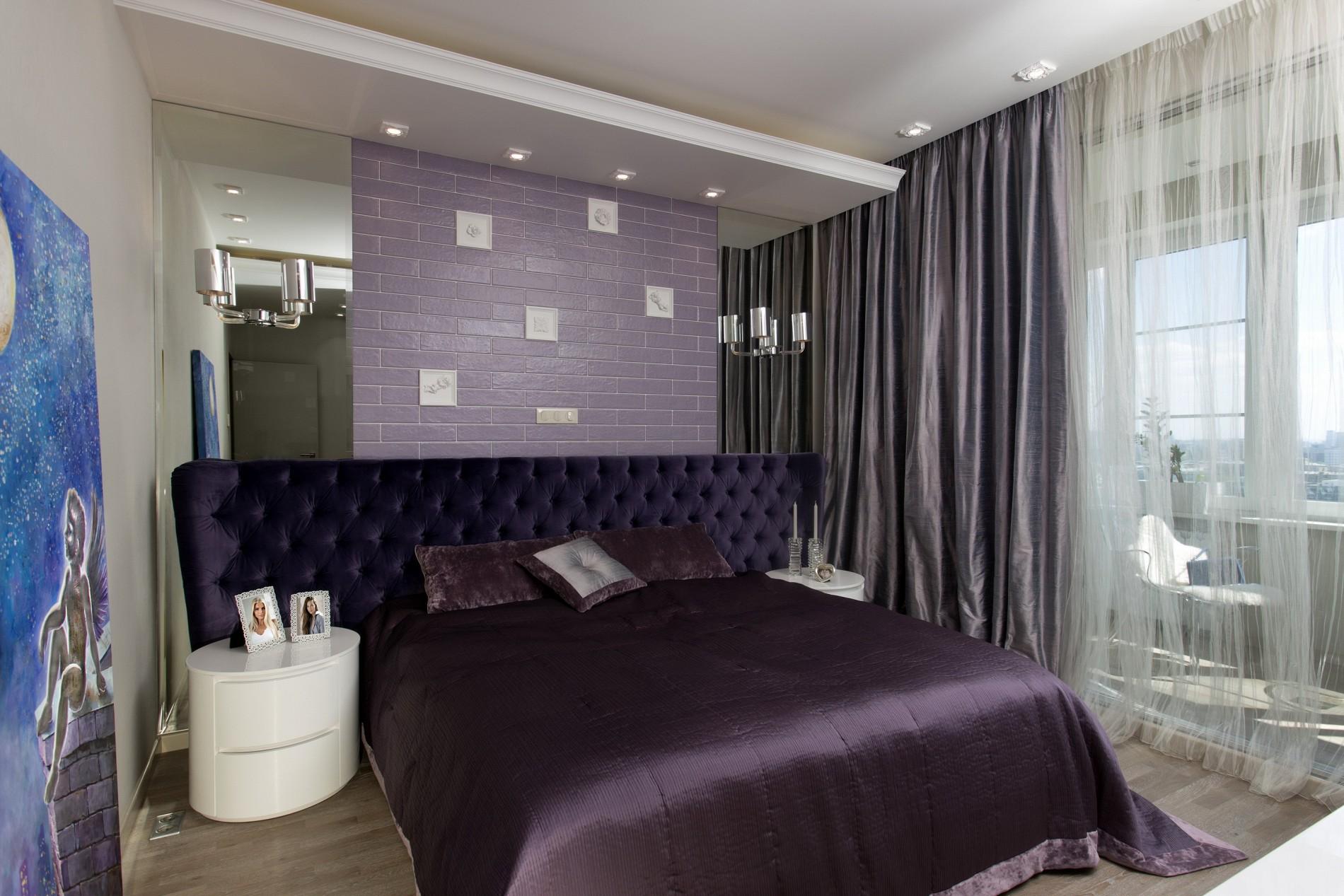 Фиолетовая спальня фото интерьера в современном стиле