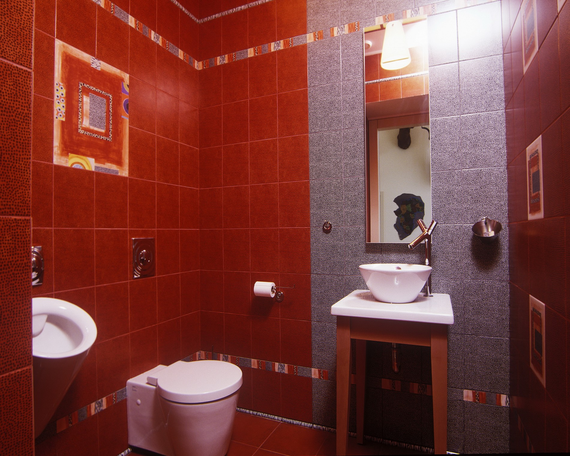 Санузел в современном стиле в красной плитке