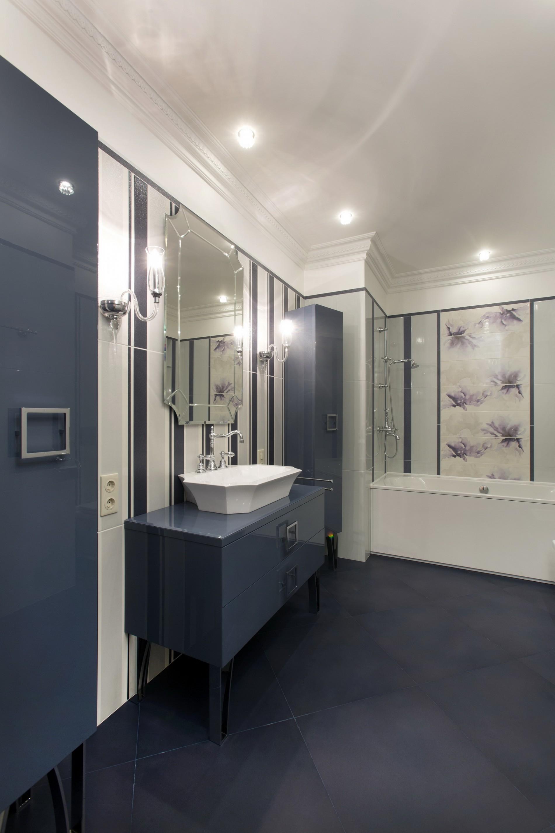 Элитная ванная в синих тонах