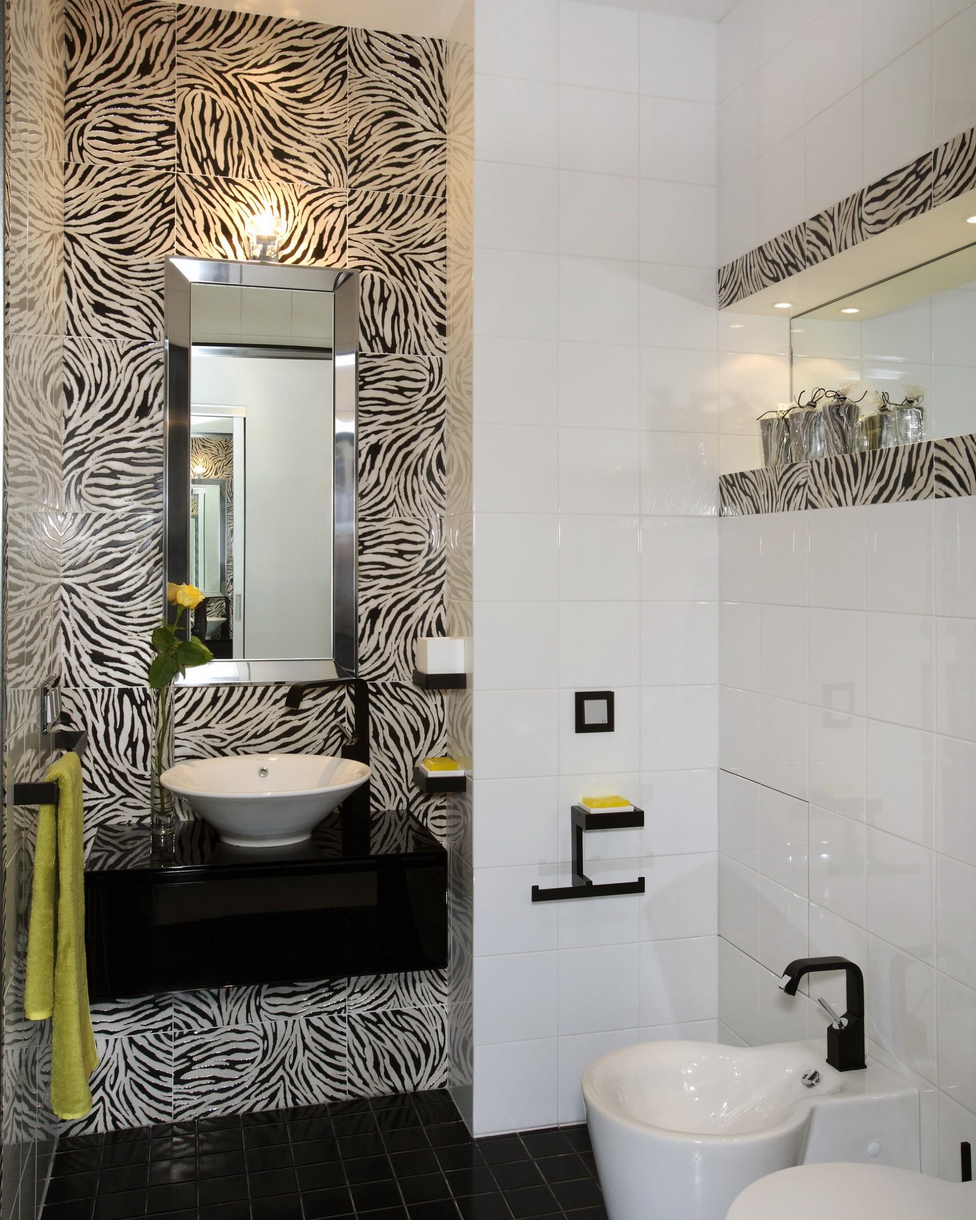 Плитка зебра в ванной ар деко