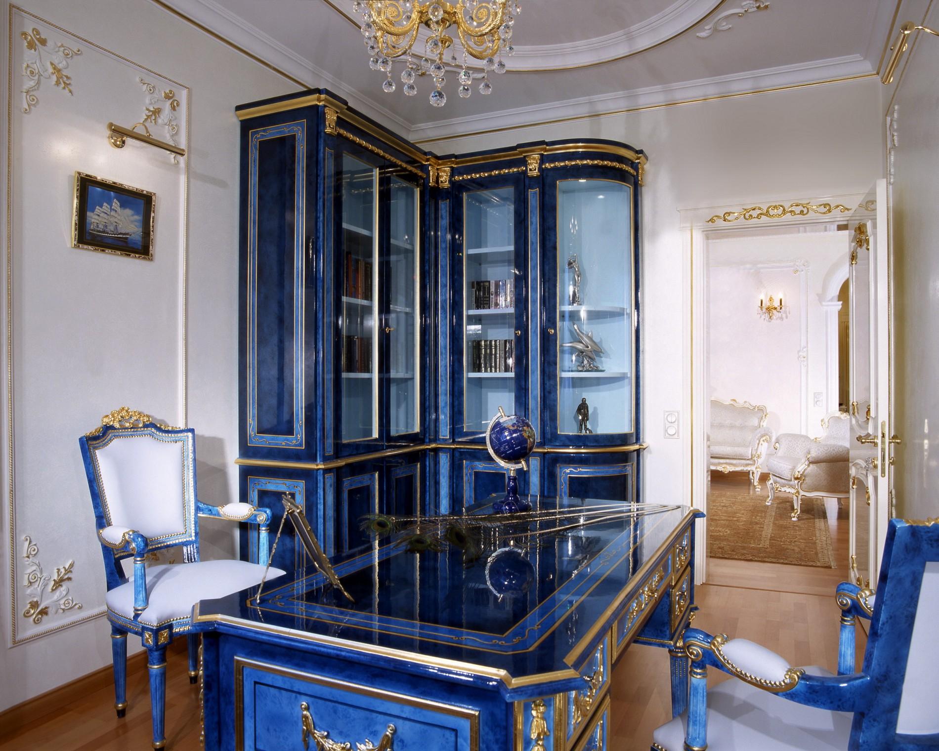 Синяя мебель в классическом стиле
