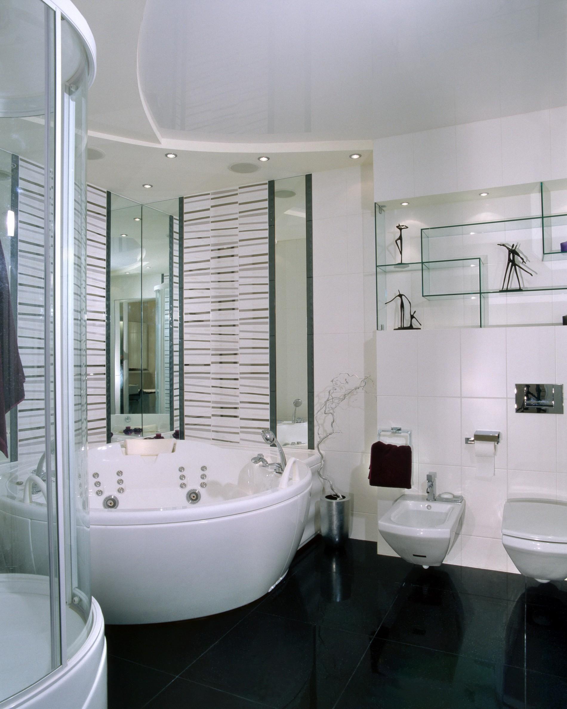 Черный пол в ванной в минимализме