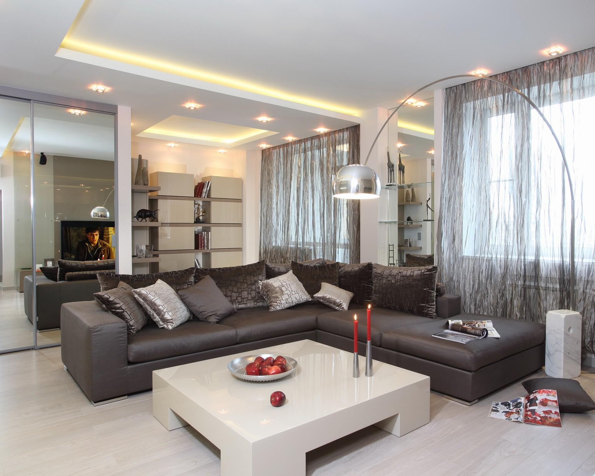 Модный дизайн интерьера гостиной в стиле минимализм