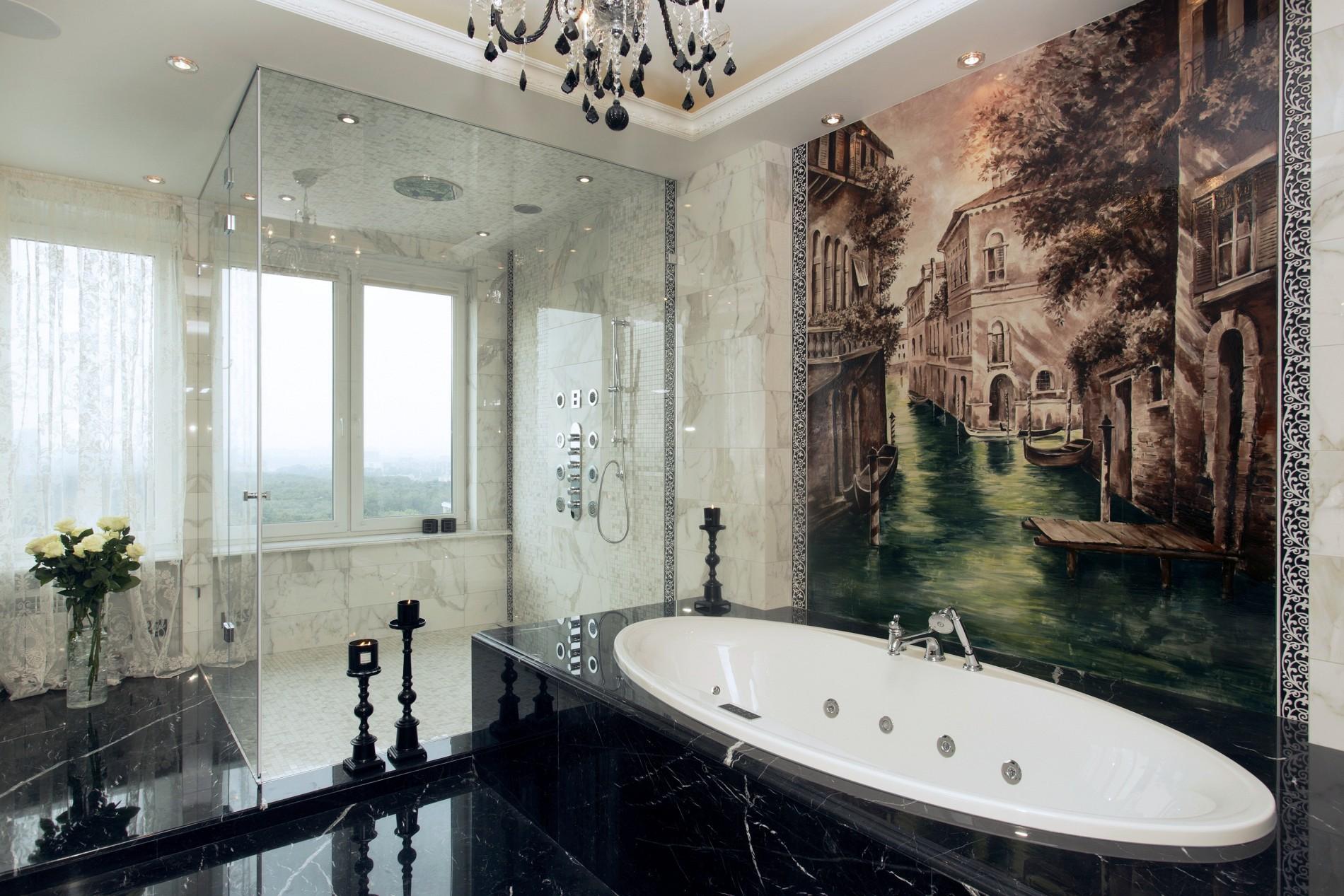 Nero Marquina мрамор в шикарном интерьере ванной