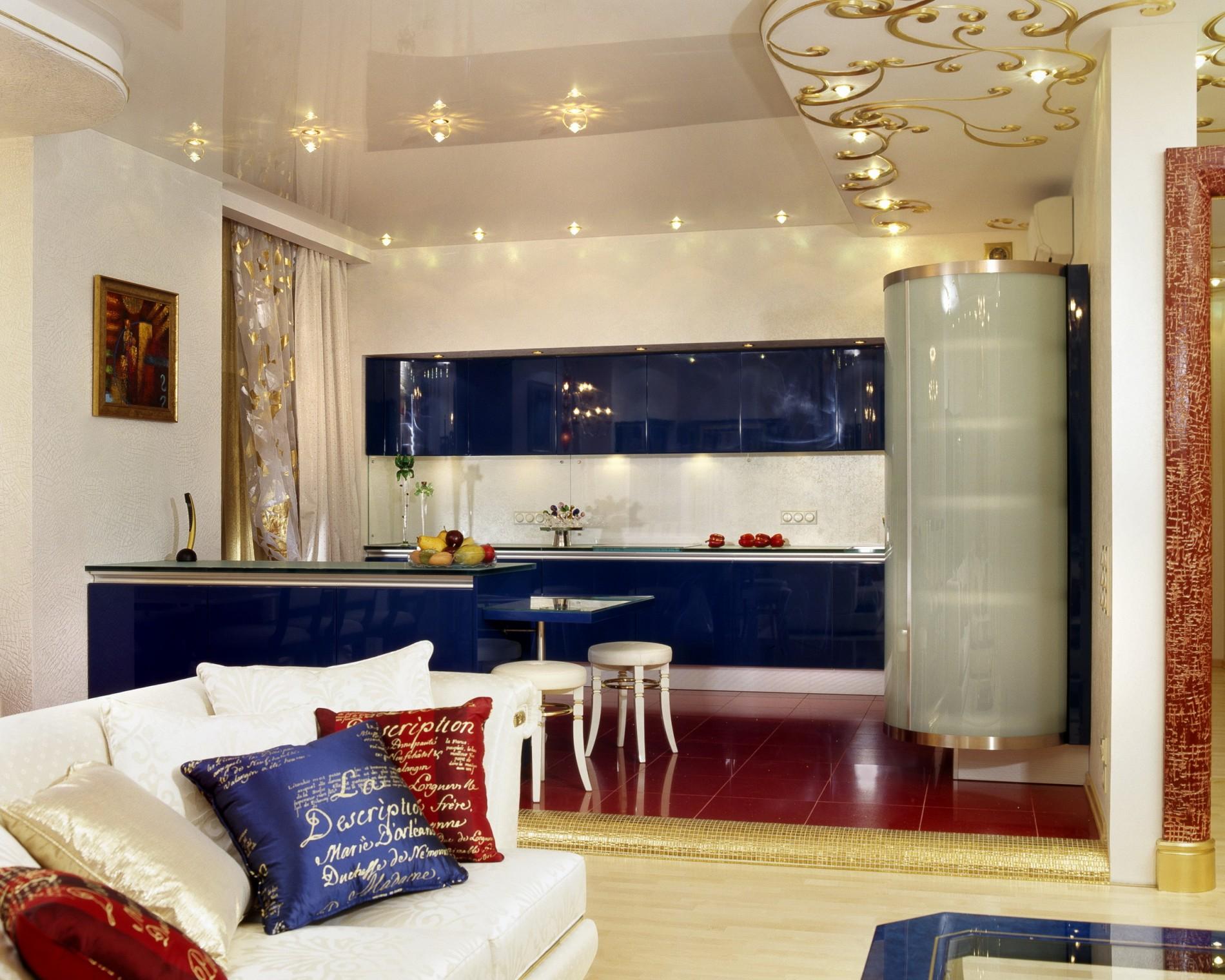 темно синяя кухня Ар Деко