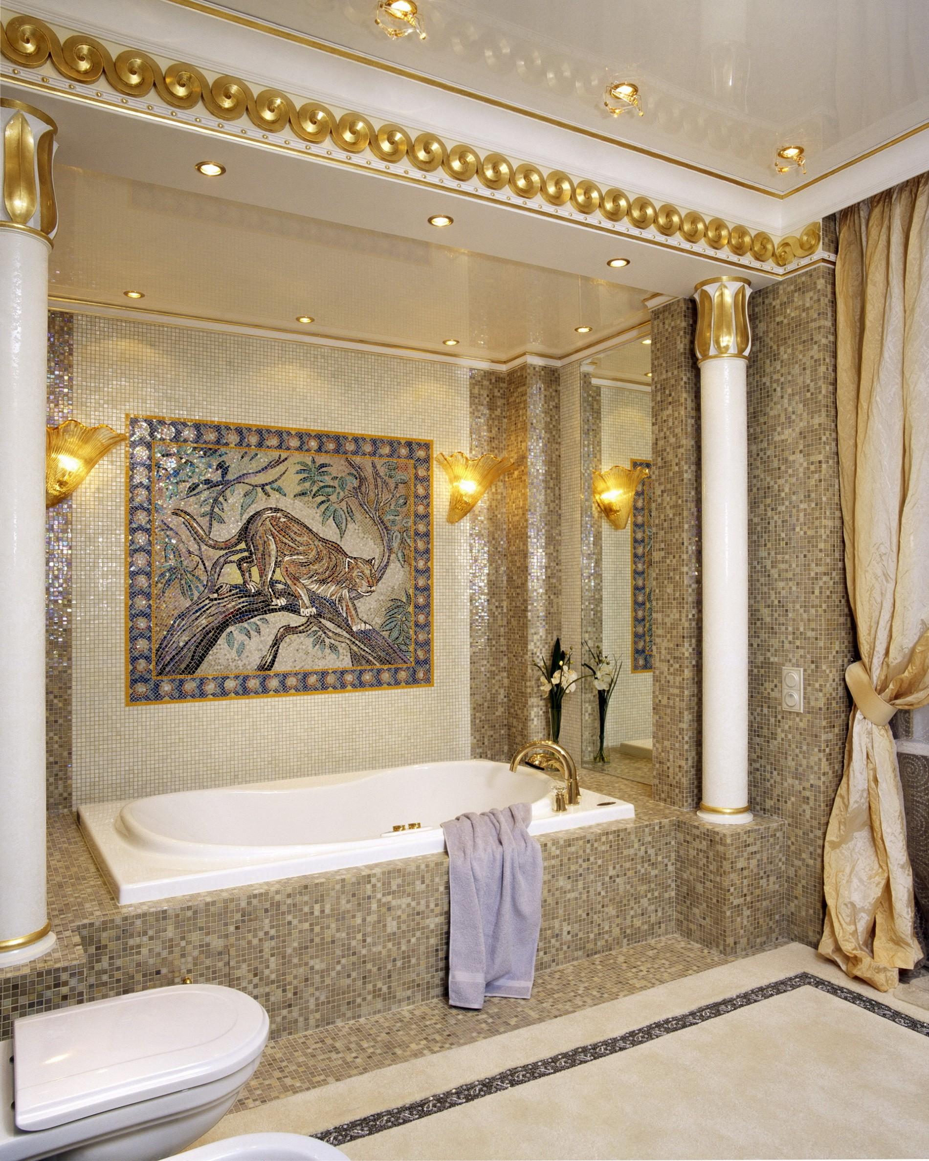 плитка мозаика в ванной ар деко