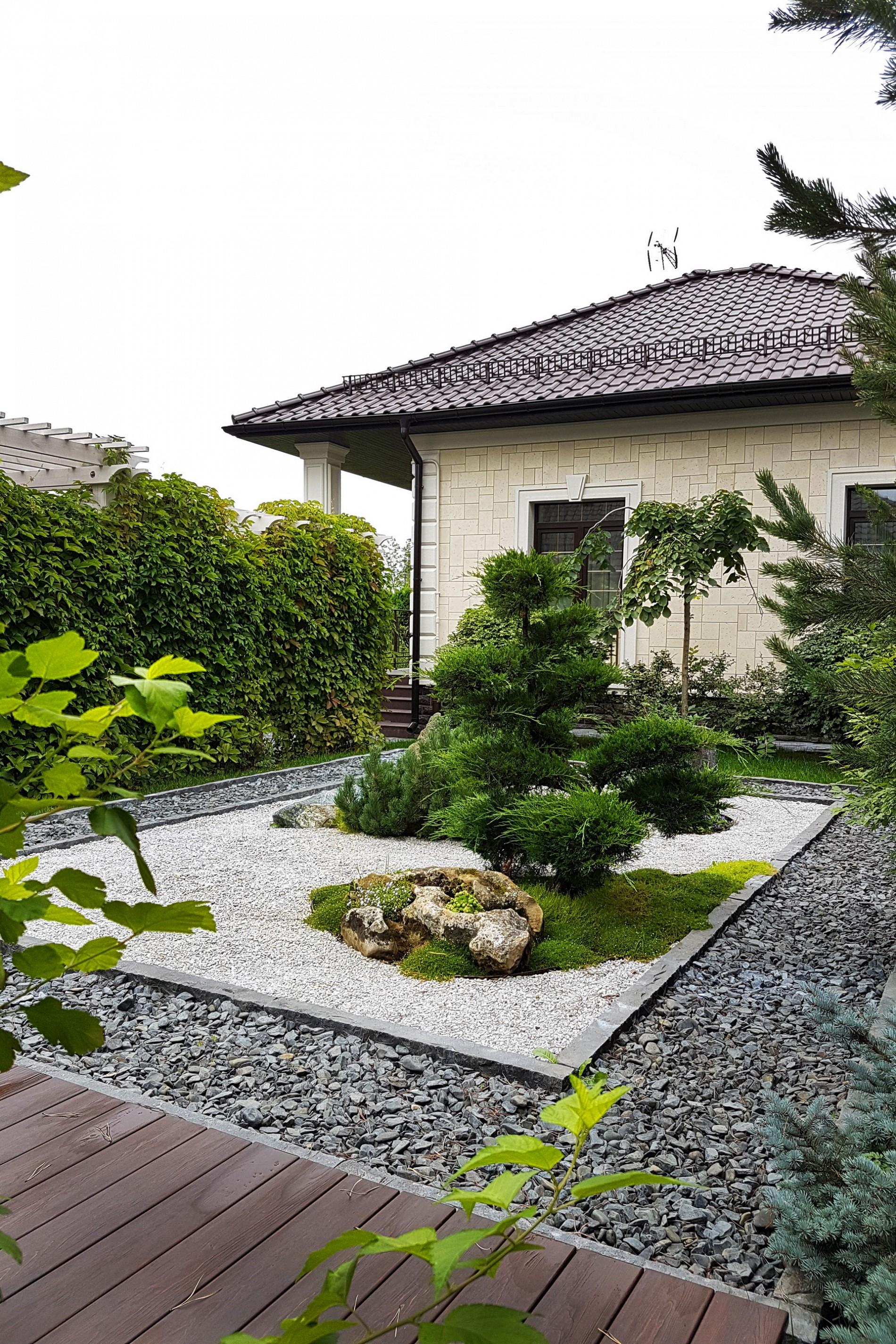 Японский сад в ландшафте   в поселке Миллениум